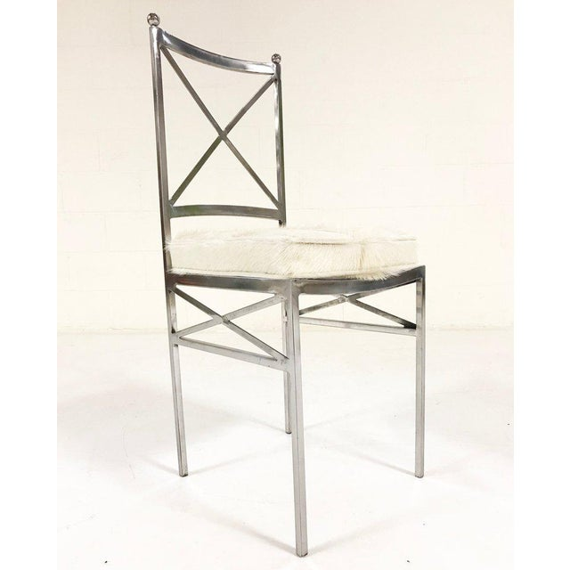 Set of 8 Mid-Century Swedish Polished Steel Dining Chairs With Custom Ivory Cowhide Cushions For Sale - Image 9 of 10