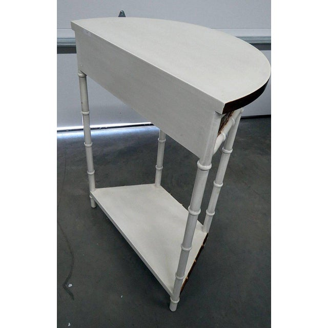 White Asian Modern Design Demilune Console Table For Sale - Image 8 of 9