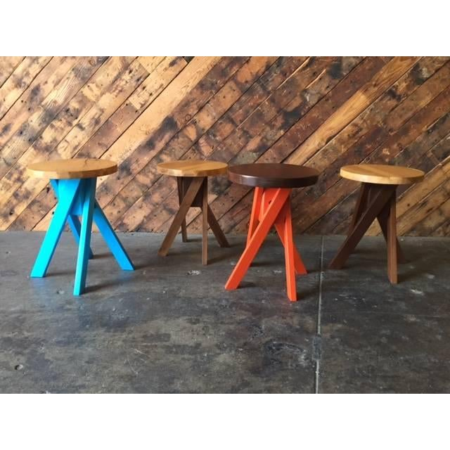Reclaimed wood side table plant stand chairish Where can i buy reclaimed wood near me