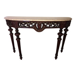 1990s Vintage Italian Hand Carved Hardwood Marble Top Table For Sale