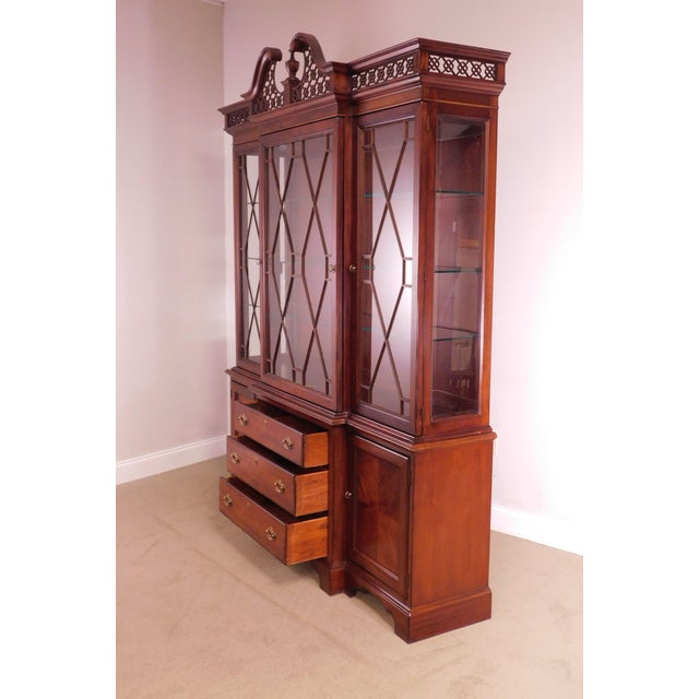 """Lexington """"The Palmer Home Collection"""" Large Mahogany Chippendale Style Breakfront For Sale - Image 12 of 13"""