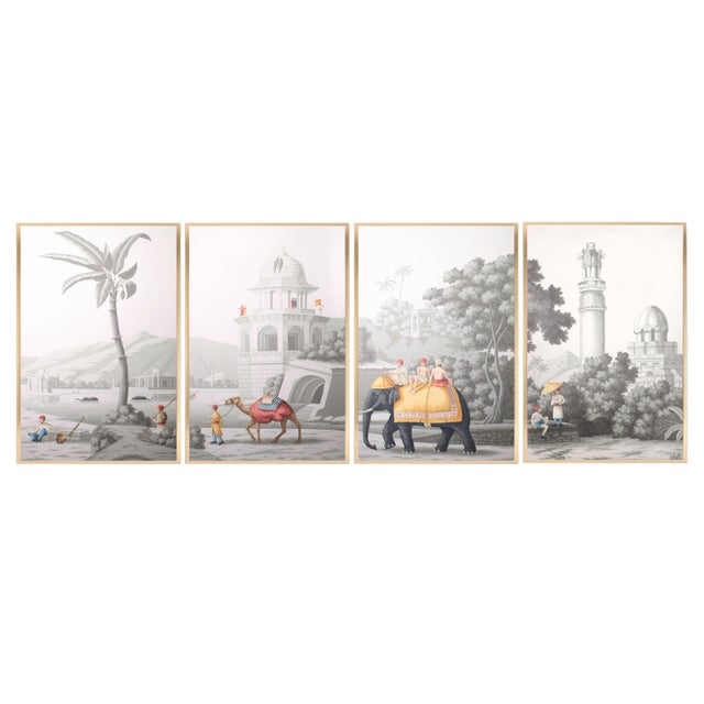 """Jardins en Fleur """"Idyllic Scenes of Ancient India"""" Hand-Painted Grisaille Framed Polyptyc, 4 Pieces For Sale - Image 9 of 9"""