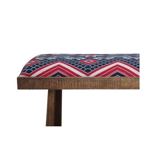 Classic simple design wooden bench made from mango wod with a upholstered top with a navy and red striped fabric....