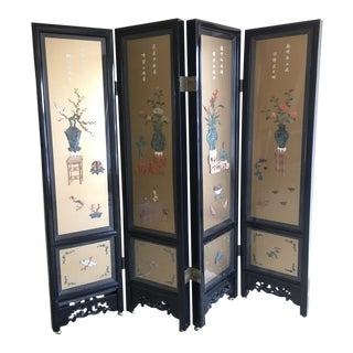 Asian Decorative Black Lacquer Screen
