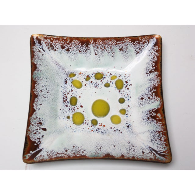 White Frank Lee Enamel on Copper Square Dish For Sale - Image 8 of 8