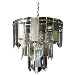 Mirror and Glass Waterfall Chandelier For Sale