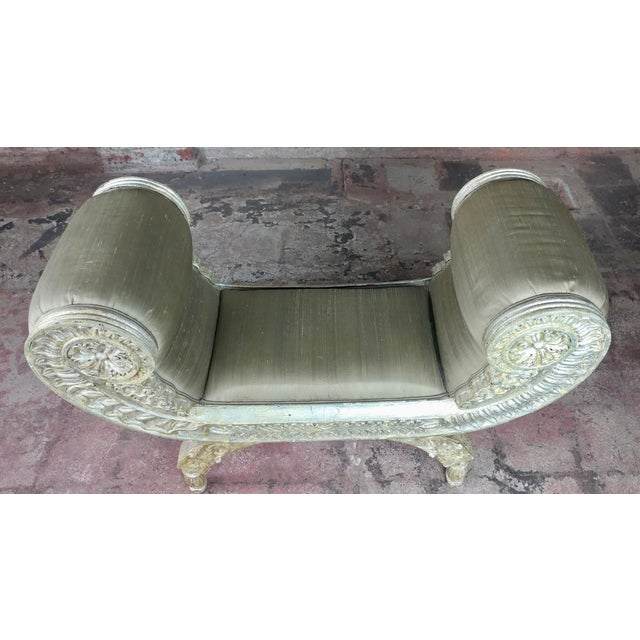 Silver Silver Gilt & Upholstery Vintage Bed or Window Bench For Sale - Image 8 of 10
