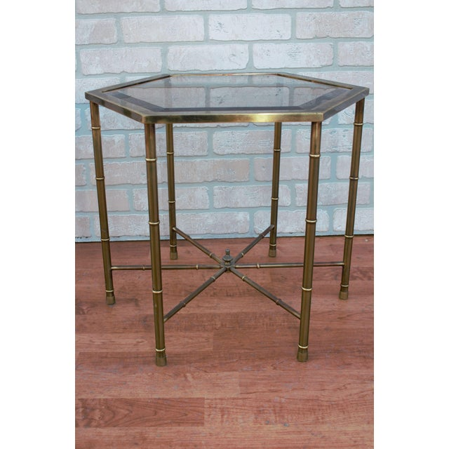 Metal 1970s Mid Century Modern Mastercraft Faux Bamboo Side Tables - A Pair For Sale - Image 7 of 10