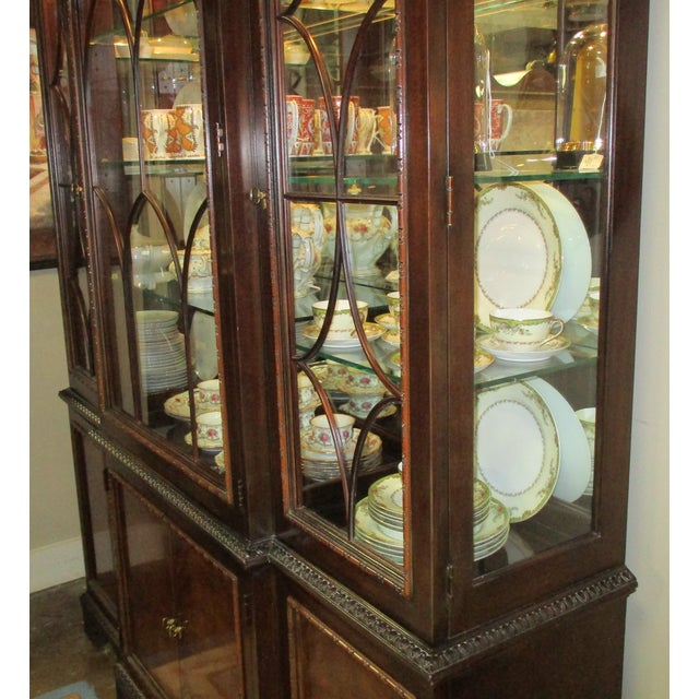 Wood 1990s Hickory White Breakfront Four-Door Inlaid Mahogany China Cabinet For Sale - Image 7 of 11