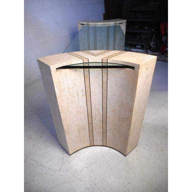 Mid-Century Modern Vintage Modern Tessellated Marble and Glass Hall Table After Maitland-Smith For Sale - Image 3 of 12