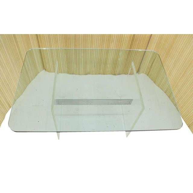 Glass Mid Century Modern 3/4 Thick Glass Top Lucite Base Conference Dining Table For Sale - Image 7 of 9