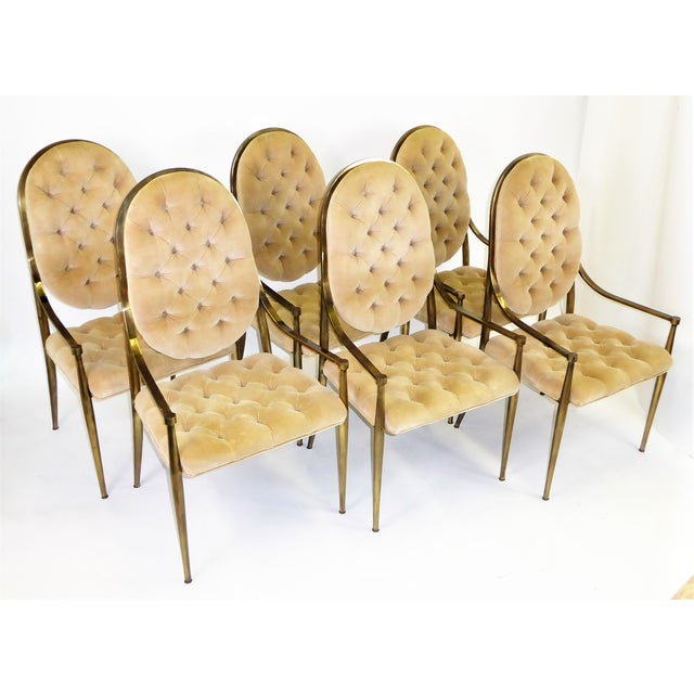 1960s Vintage Mastercraft Brass Tufted Velvet Dining Chairs - Set of 6 For Sale - Image 13 of 13