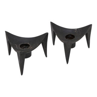 """Dansk Cast Iron Candle Holder - """"Triangle"""" (Pair) For Sale"""