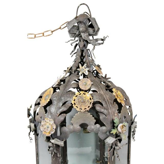 Art Nouveau Italian Painted Tole Hanging Lantern For Sale - Image 3 of 12