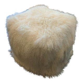 Natural White Mohair Pouf Ottoman