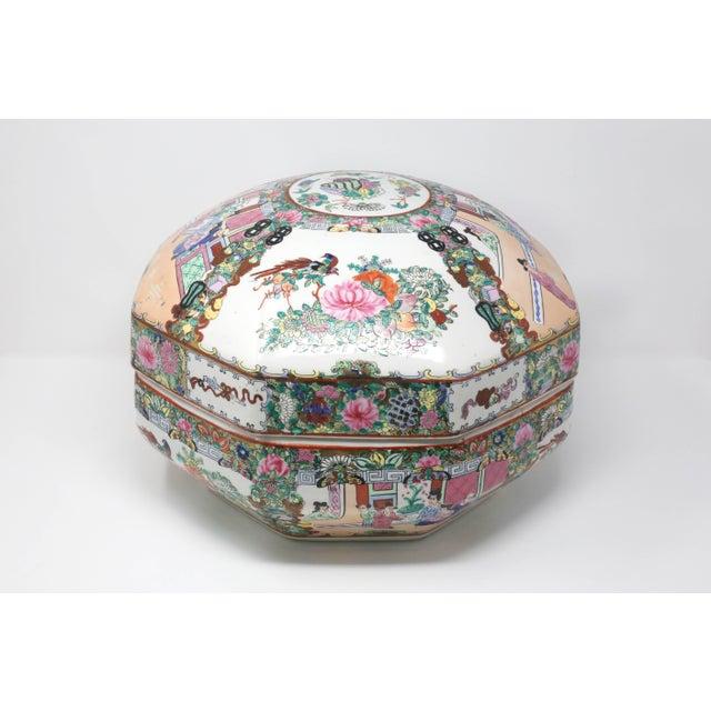 Ceramic Vintage Asian Famille Rose Medallion Octagonal Treasure Bowl For Sale - Image 7 of 12