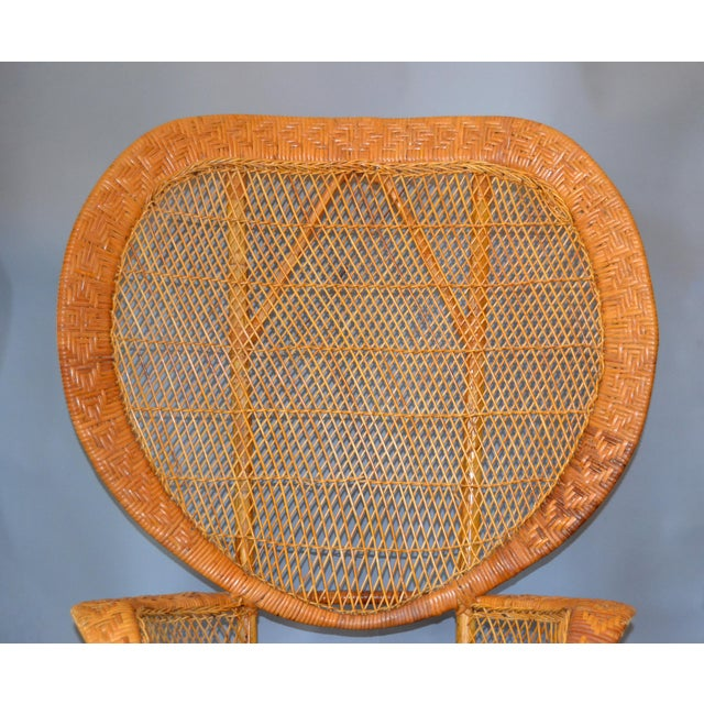 1960s Vintage Boho Chic Handcrafted Wicker, Rattan and Reed Peacock High Back Chair For Sale - Image 5 of 13