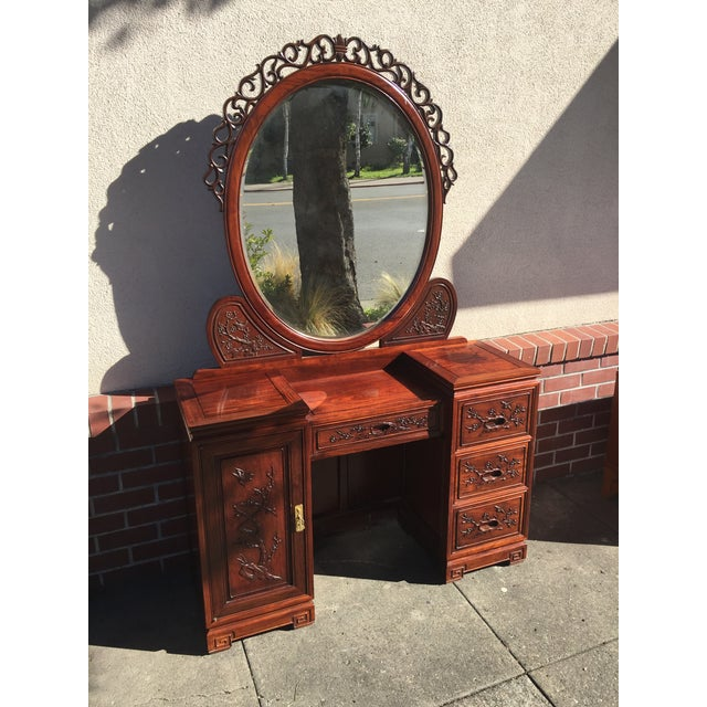 Carved Chinese Rosewood Vanity Dresser with Mirror For Sale - Image 11 of 11