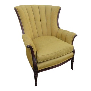 Hand Carved Mahogany Wing Side Chair With Down Cushion For Sale