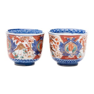 19th Century Japanese Imari Namasu Tea Cups With Crane Design - a Pair For Sale