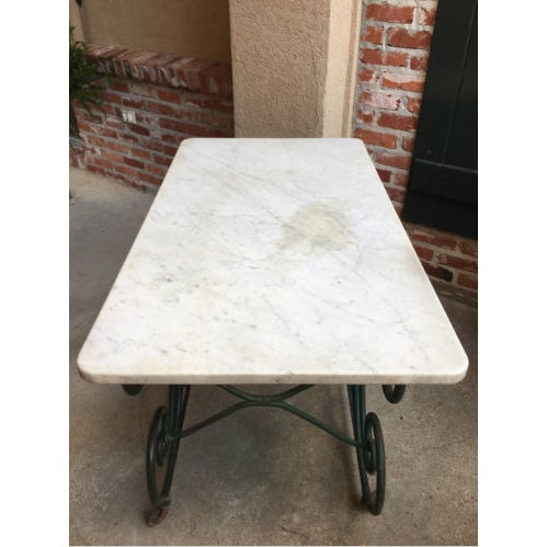 19th Century French Marble Pastry Baker's Table Art Nouveau Green Pâtisserie For Sale - Image 12 of 13