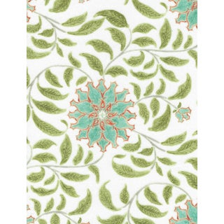Ferran Ming Rose Fabric, 2 Yards, Jade in French Cotton Twill For Sale