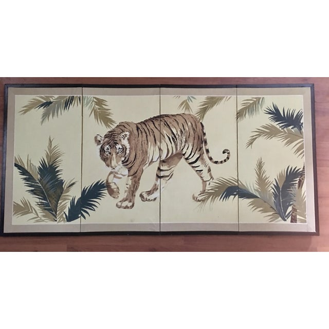 Art Deco 1940's Tiger & Foliage Panel Painting on Silk - Image 7 of 7