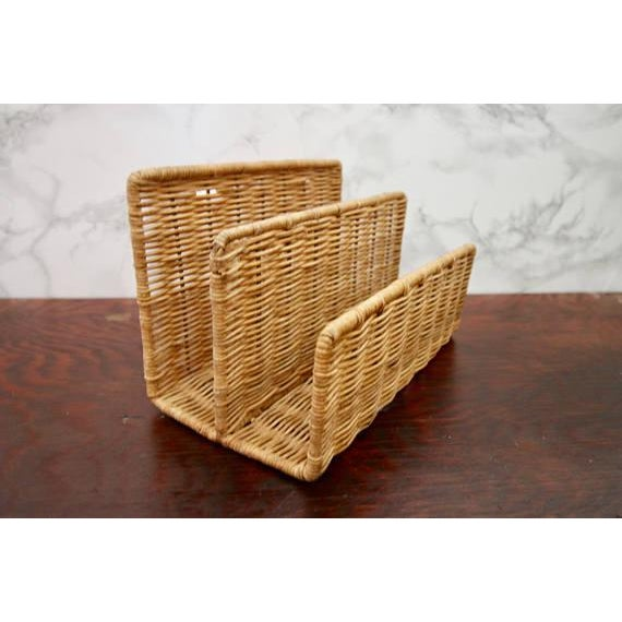 Vintage Wicker Paper Sorter Mail Organizer - Image 4 of 4