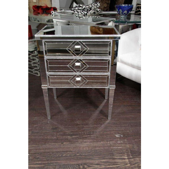 Mid-Century Modern Pair of Three-Drawer Mirrored Commodes For Sale - Image 3 of 10