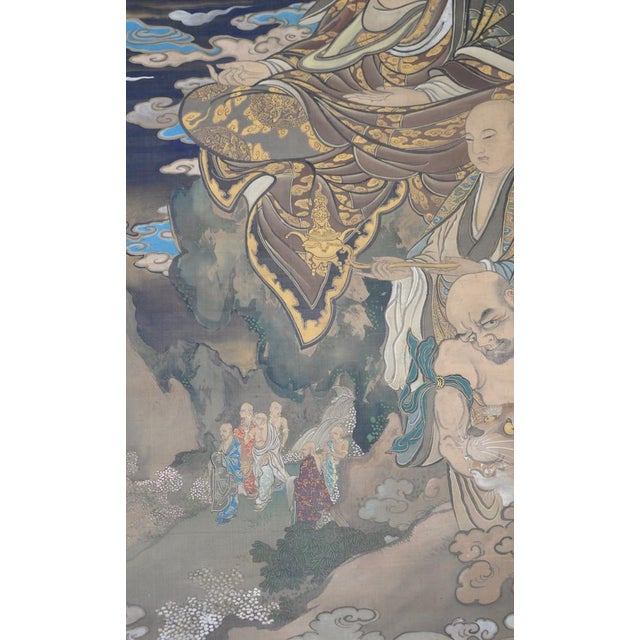 Early 20th Century Antique Japanese Hanging Scroll With Buddha and His Disciples C.1910 For Sale - Image 5 of 12