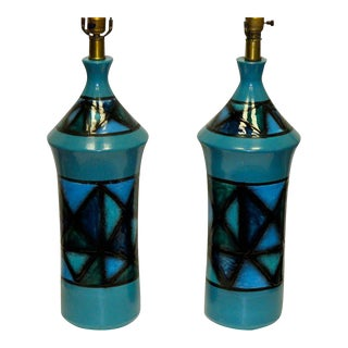 1960s Vintage Italian Teal Ceramic Lamps - A Pair For Sale