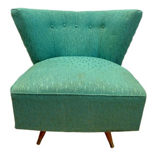 Mid Century Teal Swivel Chair For Sale