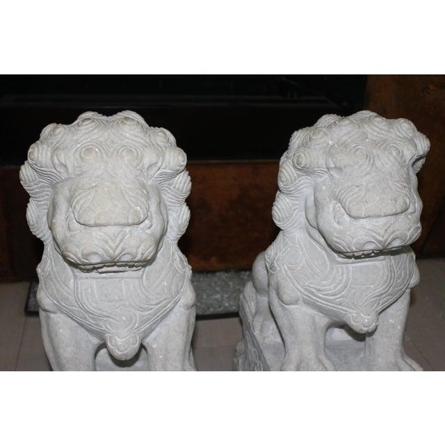 Foo Dog Stone Quartz Statues - A Pair - Image 4 of 5