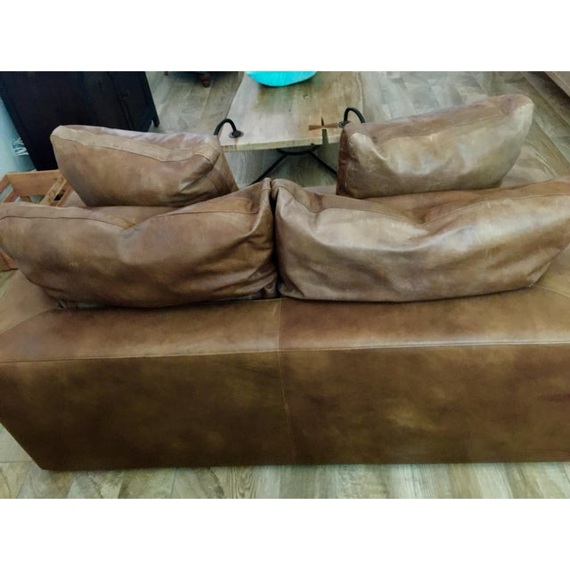 Brown Modern Restoration Hardware Cloud Brown Leather Loveseat For Sale - Image 8 of 9