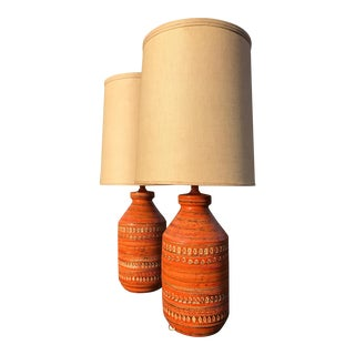 Fantastic Pair of Bitossi Lamps Aldo Londi For Sale