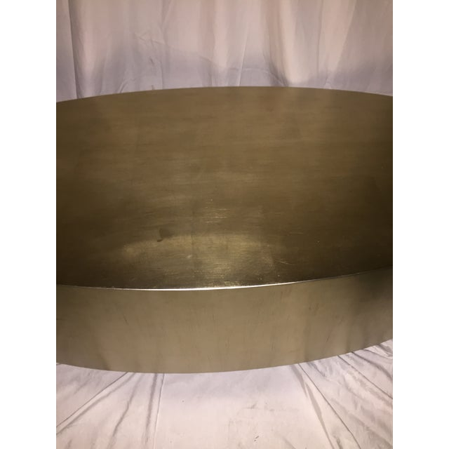 Hollywood Regency Gold Leaf Oval Coffee Table - Image 3 of 11