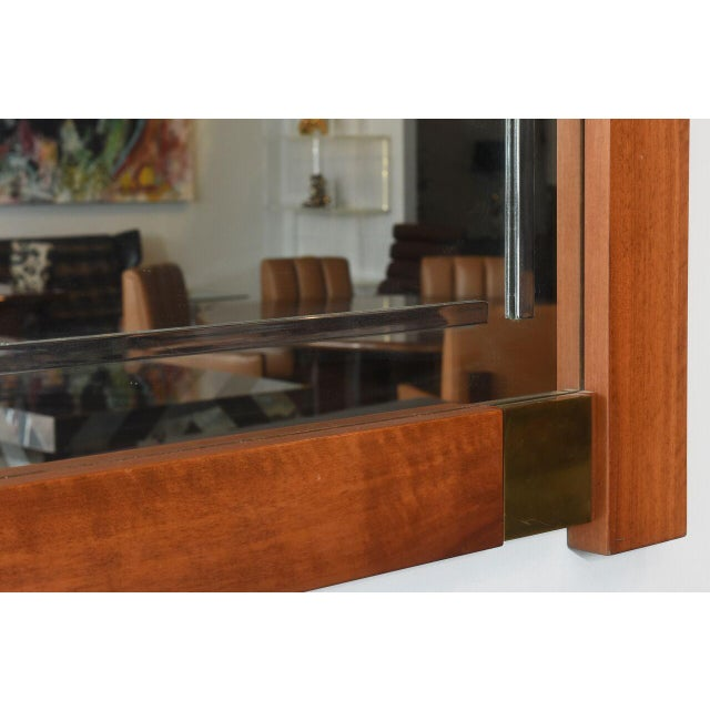 Brass Large Italian Modern Walnut and Brass Mirror, Attributed to Giovanni Michelucci For Sale - Image 7 of 8