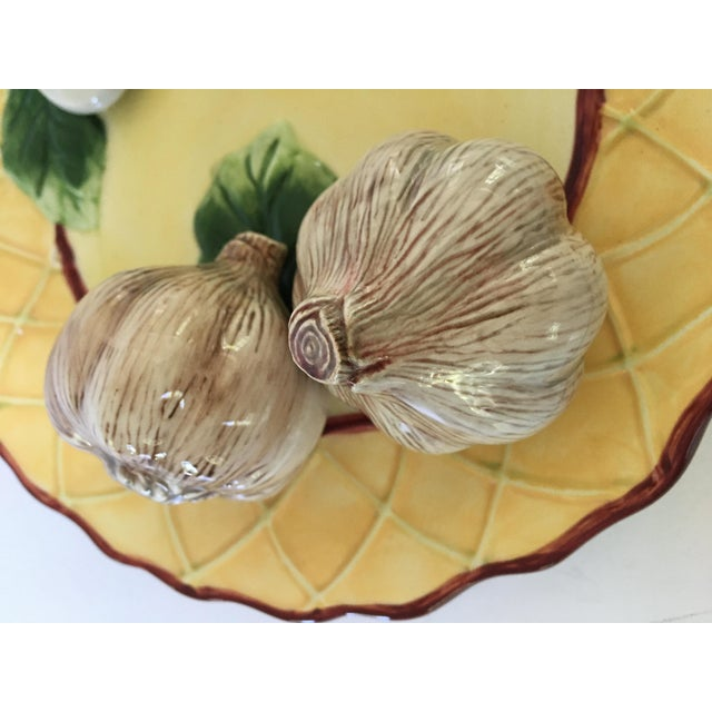 Trompe l'Oeil Decorative Garlic Bulbs & Mushrooms Scalloped Plate For Sale - Image 4 of 8