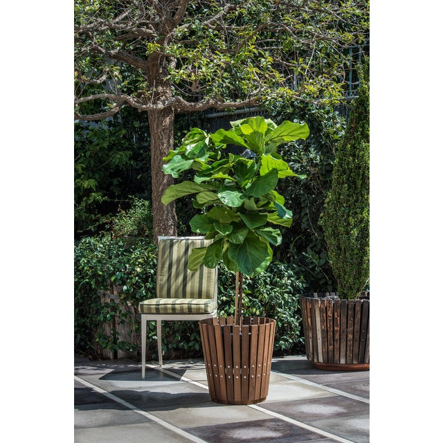 Customizable Plantum Natural American Hardwood Modular Planter Cover with Brass Rivets - Image 4 of 4