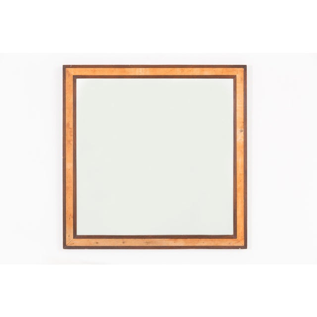 Glass Edward Wormley for Dunbar Mahogany 4977 Square Mirror For Sale - Image 7 of 7