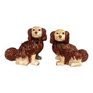 Staffordshire Monumental Male and Female Painted Ceramic Terra Cotta Pottery King Charles Dogs - a Pair For Sale