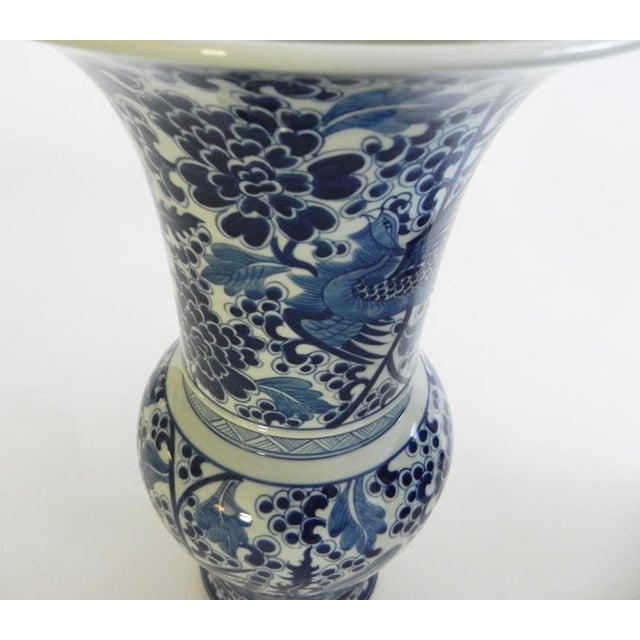 Ceramic Phoenix Tall Flared Porcelain Vase For Sale - Image 7 of 9
