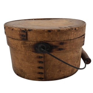 19th Century Primitive Bentwood Lidded Pantry Box With Bail Handle For Sale