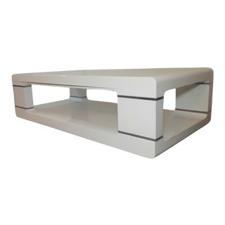Mid-Century Modern White Lacquered Harrison Van Horn Style Coffee Table For Sale