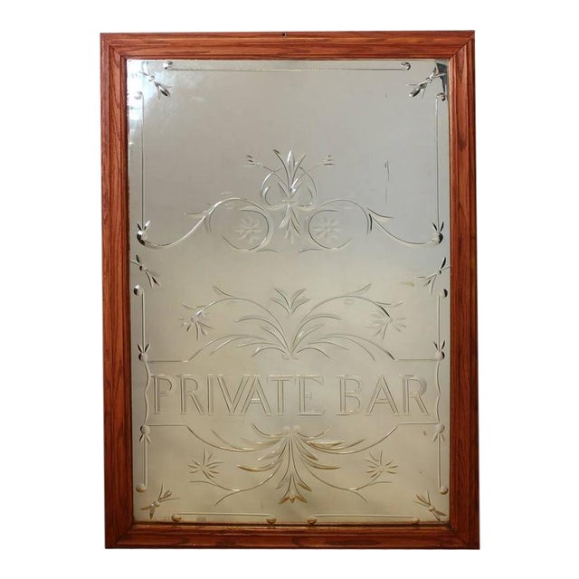 "Vintage English ""Private Bar"" Glass Sign For Sale"
