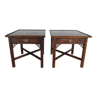 Knob Creek Chippendale Style Mahogany & Burl Walnut End Tables For Sale