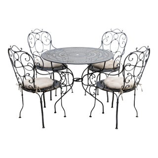 Wrought Iron French Style Garden Dining Table & 4 Chairs For Sale