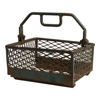 1940s Industrial Factory Tote Steel Rivet Basket For Sale