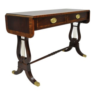 Baker Banded Mahogany Dropleaf Hall or Sofa Table For Sale