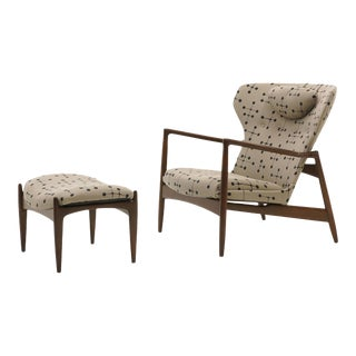 Danish High Back Lounge Chair and Ottoman by Ib Kofod Larsen, Eames Dot Fabric For Sale